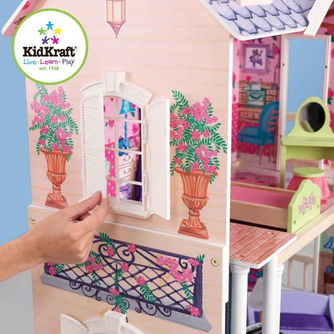 Wonderful Kidkraft Dollhouse Made Of Wood With Cream Siding With White Window Design For Nursery Decor Ideas