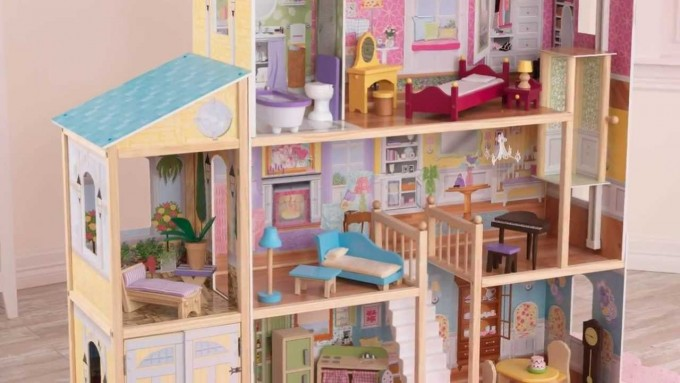 Wonderful Kidkraft Majestic Mansion Dollhouse 65252 Made Of Wood Filled With Kidkraf Furniture For Kids Play Room Decor Ideas