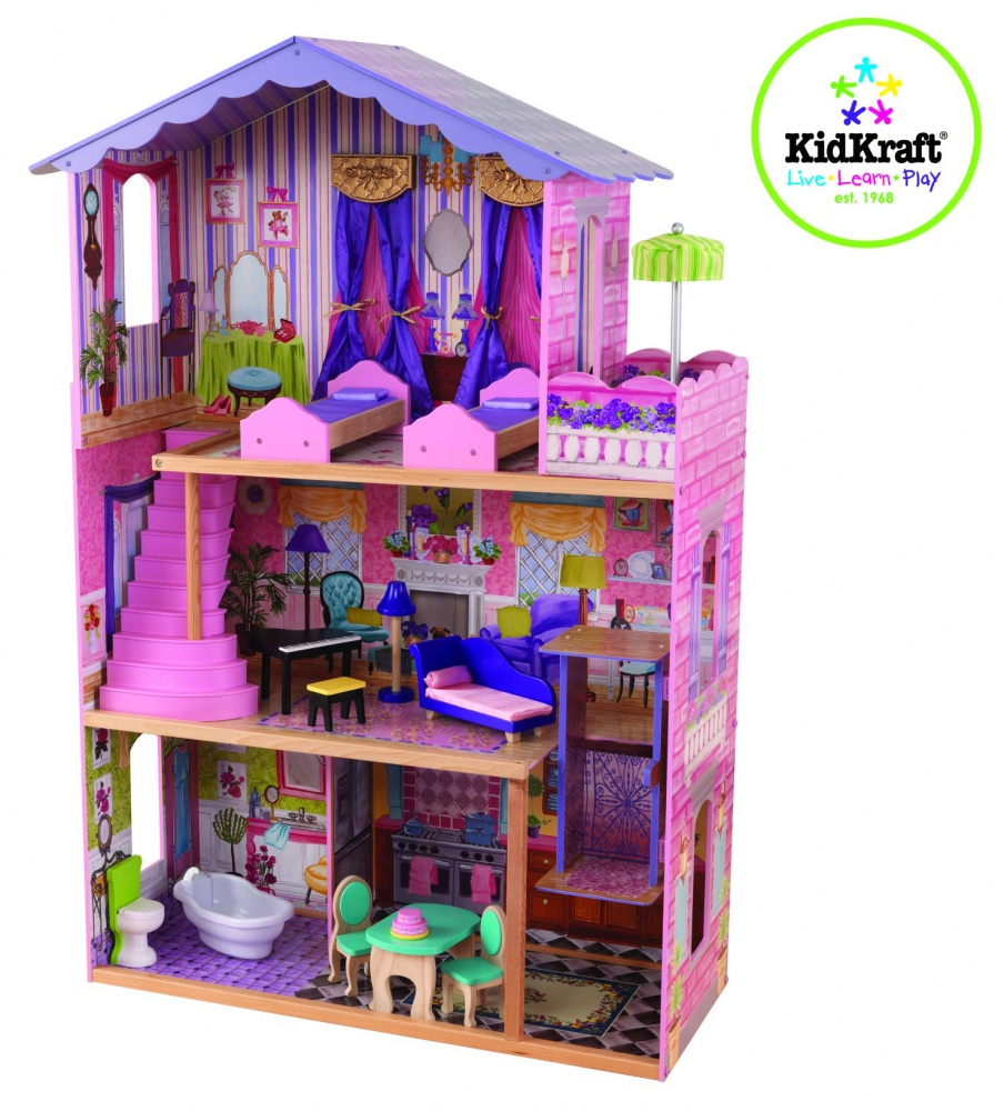 Wonderful Kidkraft Majestic Mansion Dollhouse 65252 Made Of Wood In Pink And Purple Theme For Kids Play Room Furniture Ideas