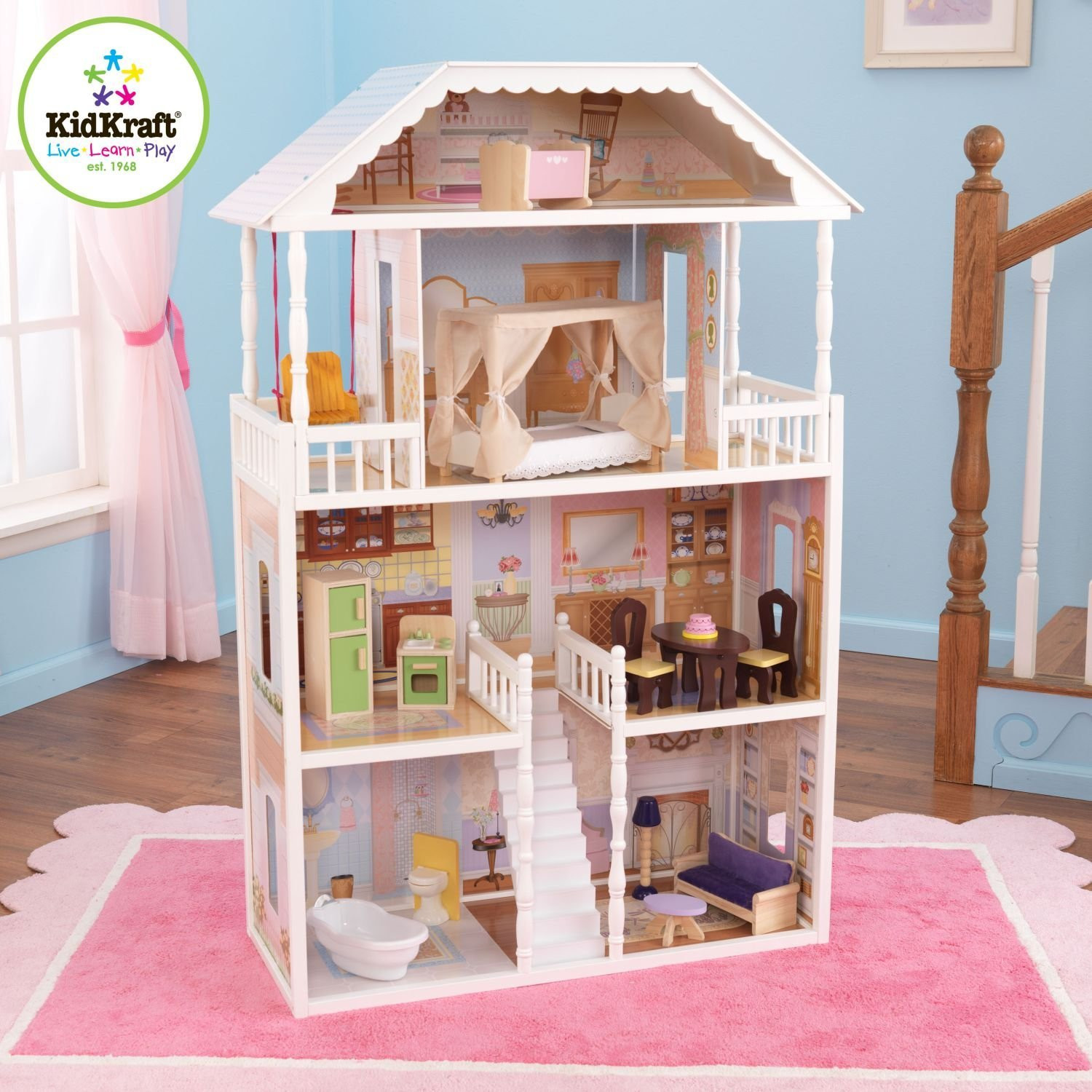Lovely Kidkraft Majestic Mansion Dollhouse 65252 For Kids Play Room Furniture Ideas: Wonderful Kidkraft Majestic Mansion Dollhouse 65252 Made Of Wood On Pink Rug For Nursery Decor Ideas