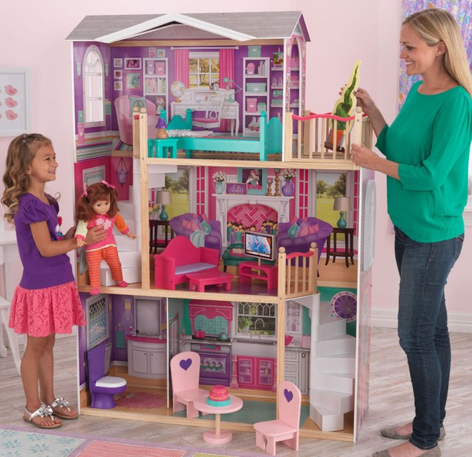 Wonderful Kidkraft Majestic Mansion Dollhouse 65252 Made Of Wood On Wooden Floor Matched With Salmon Wall For Kids Room Decor Ideas