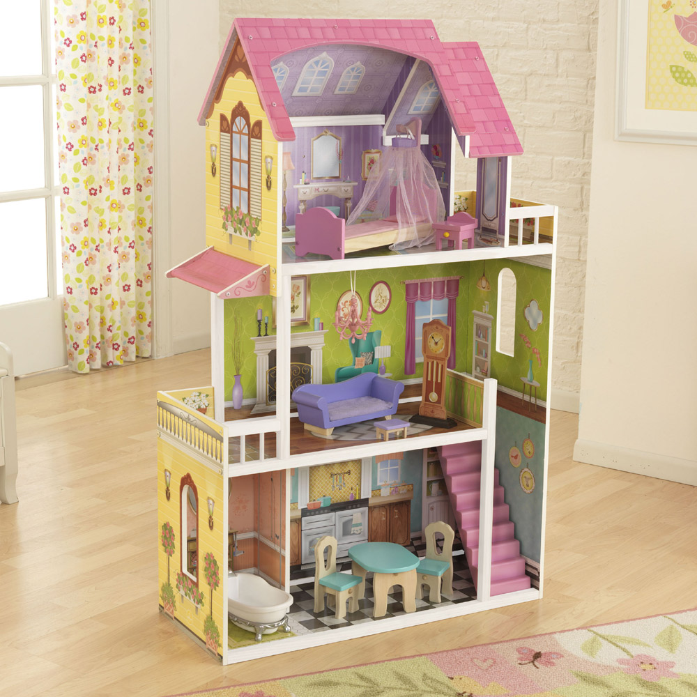 Lovely Kidkraft Majestic Mansion Dollhouse 65252 For Kids Play Room Furniture Ideas: Wonderful Kidkraft Majestic Mansion Dollhouse 65252 Made Of Wood On Wooden Floor Matched With White Wall For Kids Room Decor Ideas