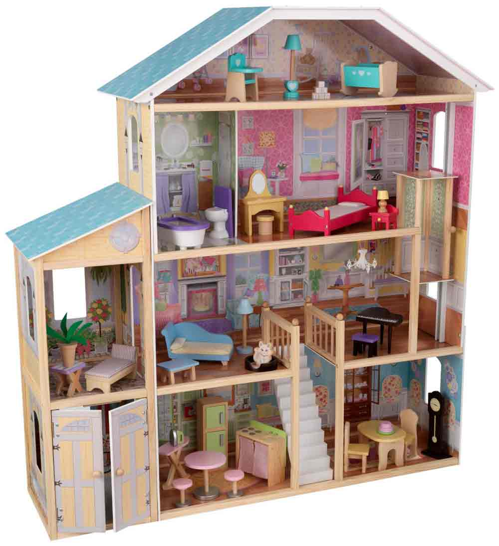 Wonderful Kidkraft Majestic Mansion Dollhouse 65252 Made Of Wood With Blue Roof For Kids Room Furniture Ideas
