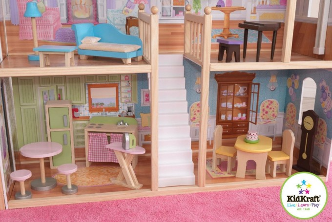 Wonderful Kidkraft Majestic Mansion Dollhouse 65252 Made Of Wood With White Staircase For Kids Play Room Furniture Ideas