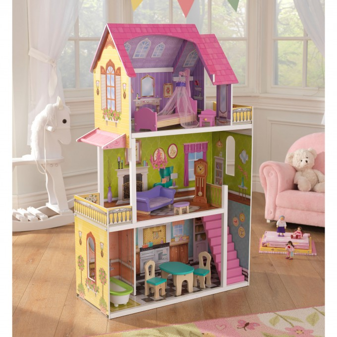 Wonderful Kidkraft Majestic Mansion Dollhouse 65252 On Wooden Floor With White Rocking Horse For Kids Room Decor Ideas