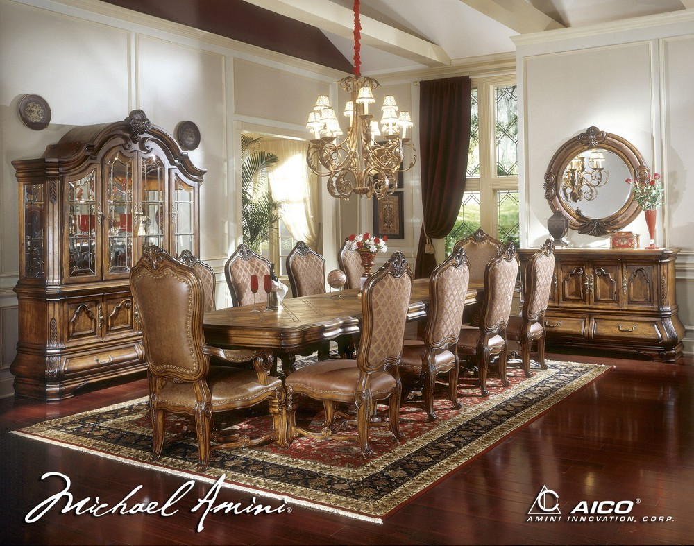 wonderful large dining table set with wooden table and ten set of chair by aico furniture on wooden floor with floral rug for dining room decor ideas