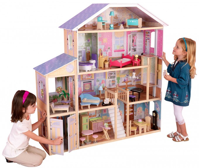 Wonderful Large Kidkraft Dollhouse In Four Tier Design With Purple Roof For Nursery Decor Ideas