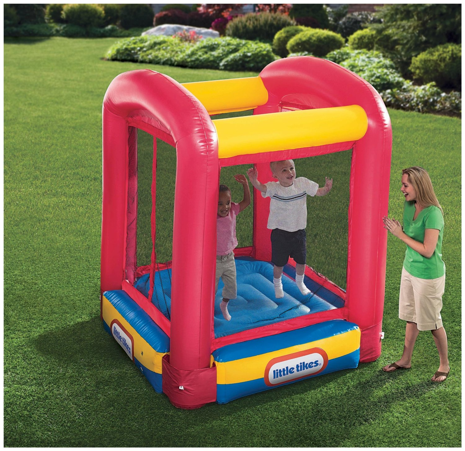 Fancy Little Tikes Bounce House For Play Yard Ideas: Wonderful Little Tikes Bounce House Made Of Caoutchouc In Pink Blue Yellow For Play Yard Ideas
