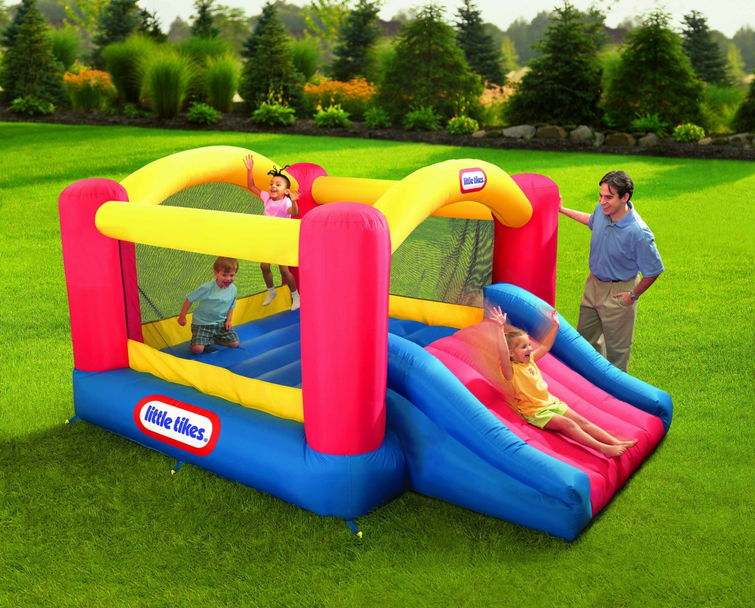 wonderful little tikes bounce house made of caoutchouc with slide for play yard ideas
