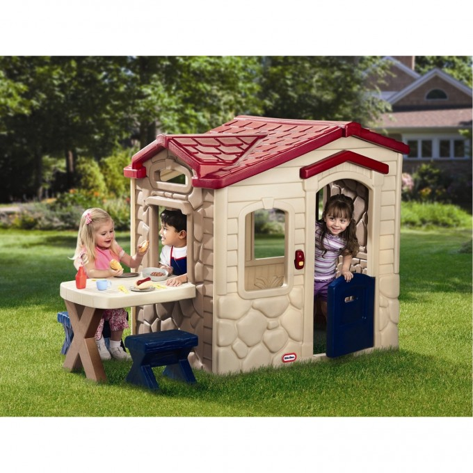Wonderful Little Tikes Playhouse In Red And Cream Theme With Dining Table On Green Grass For Awesome Patio Playground Ideas
