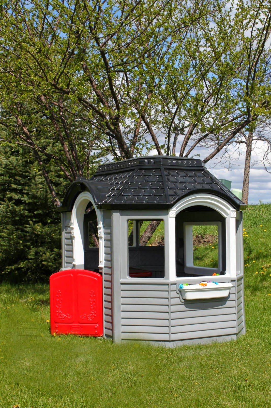 Wonderful Little Tikes Playhouse Made Of Plastic With Black Roof And Red Door Plus Gray Siding For Playground Decor Ideas