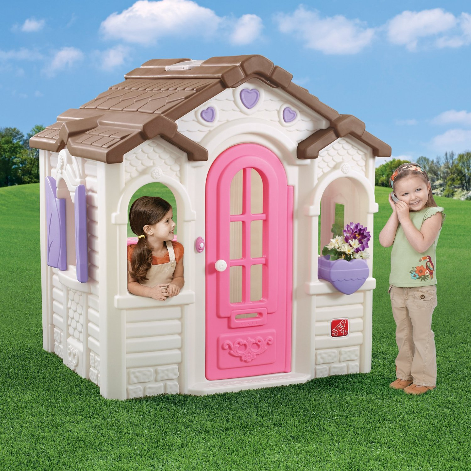 Wonderful Little Tikes Playhouse Made Of Plastic With Brown Roof For Playground Decor Ideas