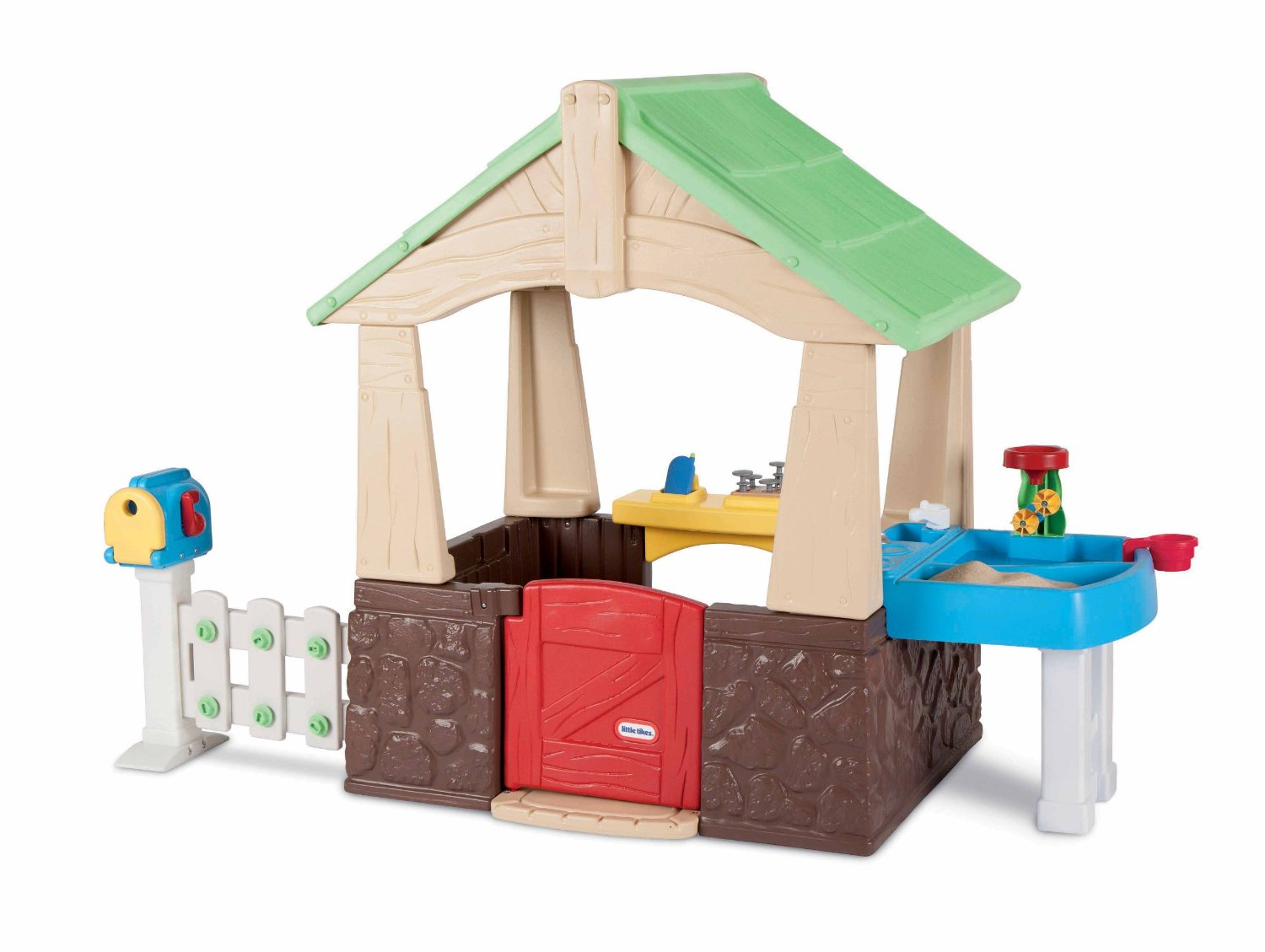 Wonderful Little Tikes Playhouse Made Of Plastic With Green Roof And Pedestal For Kids Toy Ideas