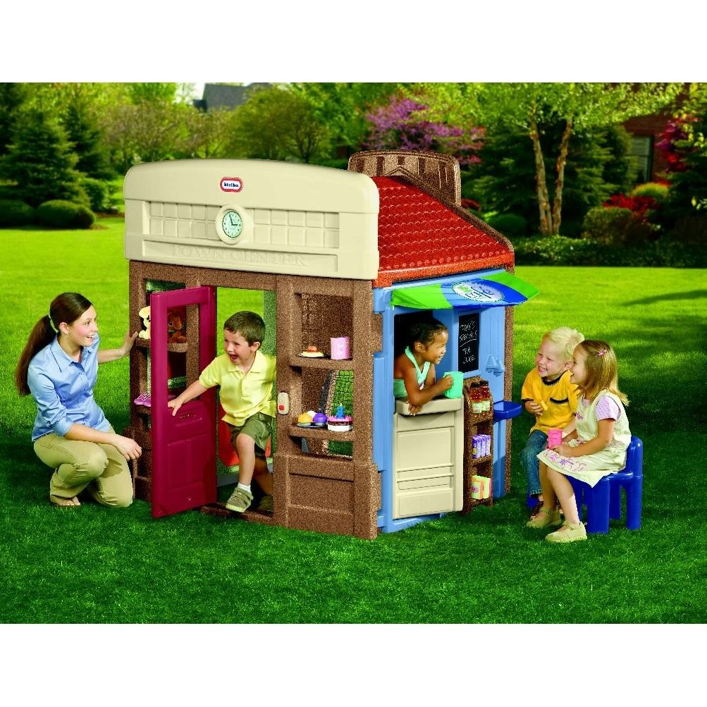 Wonderful Little Tikes Playhouse Made Of Plastic With Red Roof And Blue Chair For Playground Decor Ideas