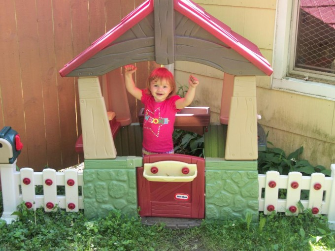 Wonderful Little Tikes Playhouse Made Of Plastic With Red Roof And White Railing For Chic Playground Decor Ideas