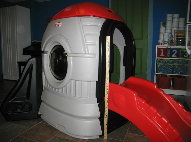wonderful little tikes playhouse made of plastic with red slide for chic playground ideas