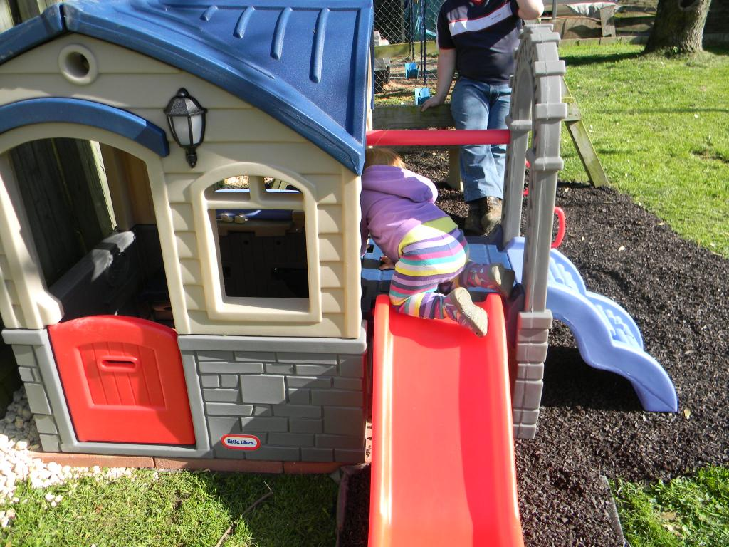 Wonderful Little Tikes Playhouse Made Of Plastic With Red Slide For Playground Decor Ideas
