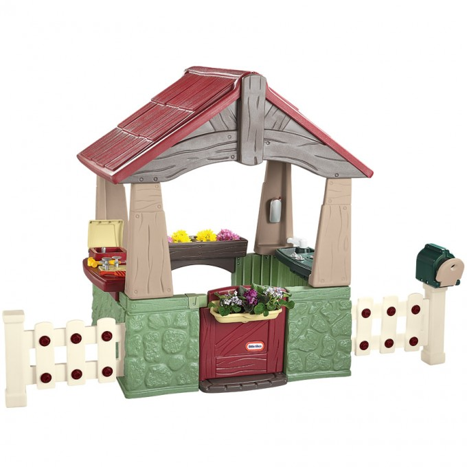 Wonderful Little Tikes Playhouse With Red Roof And White Railing For Nursery Decor Ideas