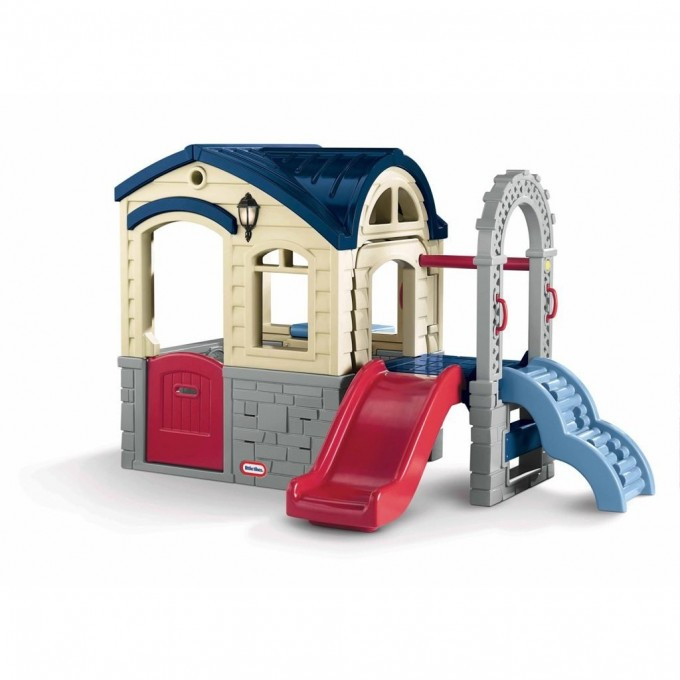 Wonderful Little Tikes Playhouse With Slide And Blue Roof For Awesome Kids Toy Ideas