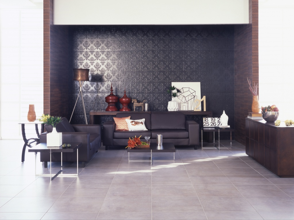 wonderful living design with interceramic tile floor matched with decorative wall plus dark brown sofa ideas