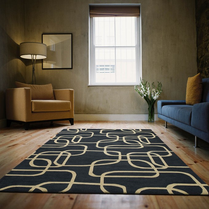 Wonderful Navy Momeni Rugs On Wooden Floor With Blue Sofa For Living Room Decor Ideas