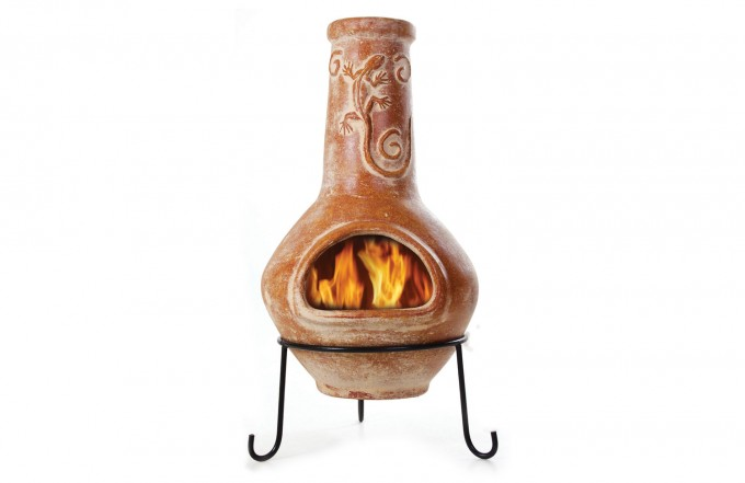 Wonderful Orange Clay Chiminea With Black Iron Stand And Lizard Ornament For Outdoor Furniture Ideas
