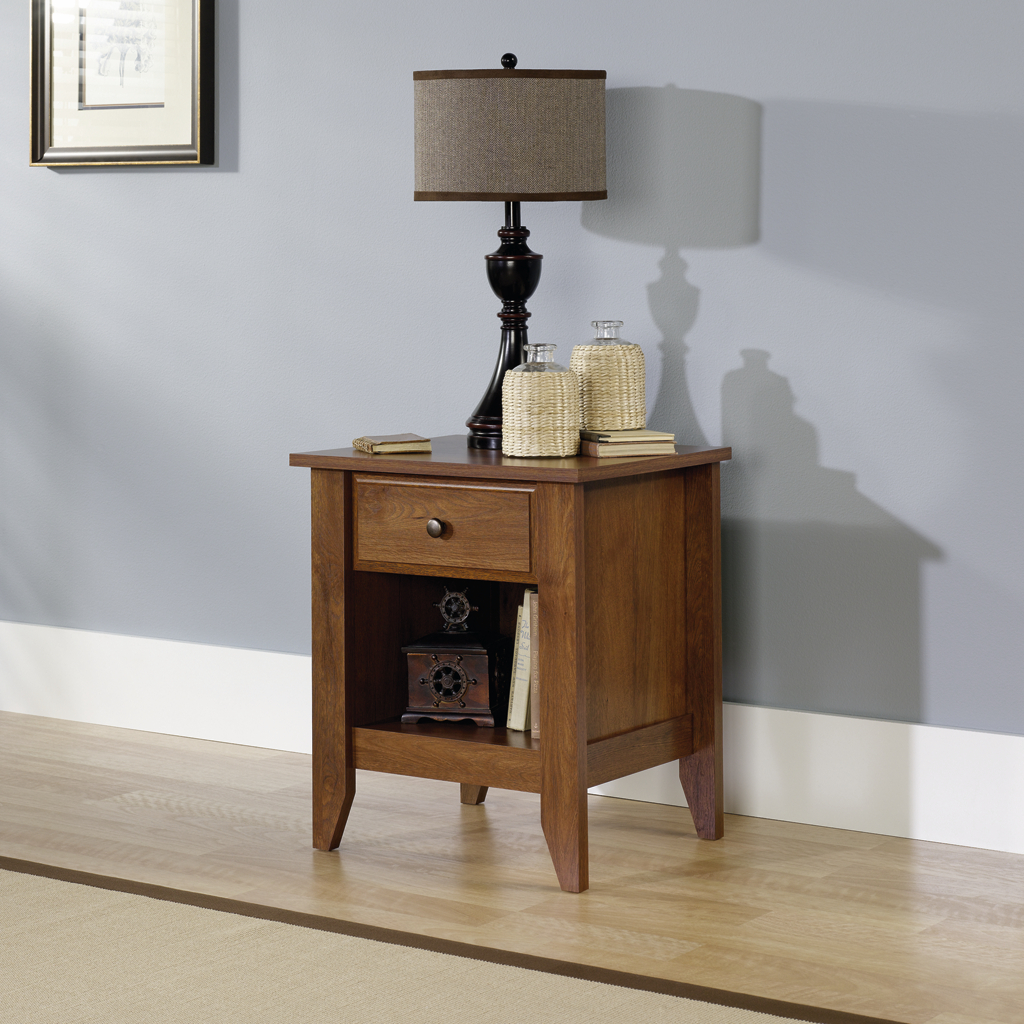 wonderful shoal creek oiled oak night stand by sauder furniture with table lamp before the blue wall which matched with wooden floor for living room decor idaes