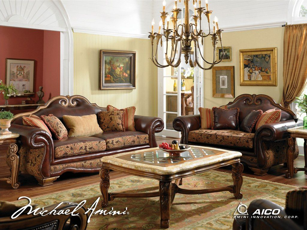 wonderful sofa set by aico furniture on wooden floor with floral rug for living room decor ideas