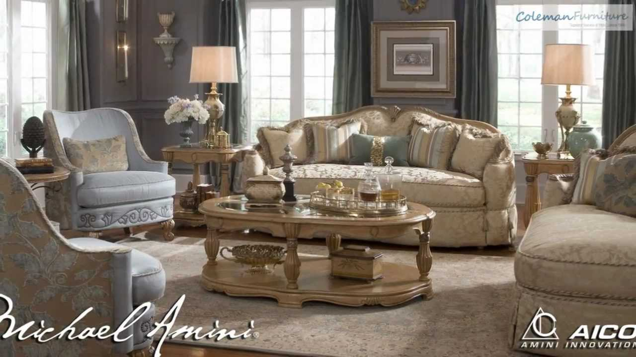 wonderful sofa set with cream wooden table by aico furniture on gray rug for living room decor ideas