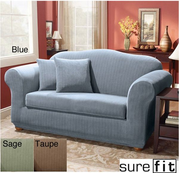 wonderful sofa with blue surefit slipcover for living room decor ideas