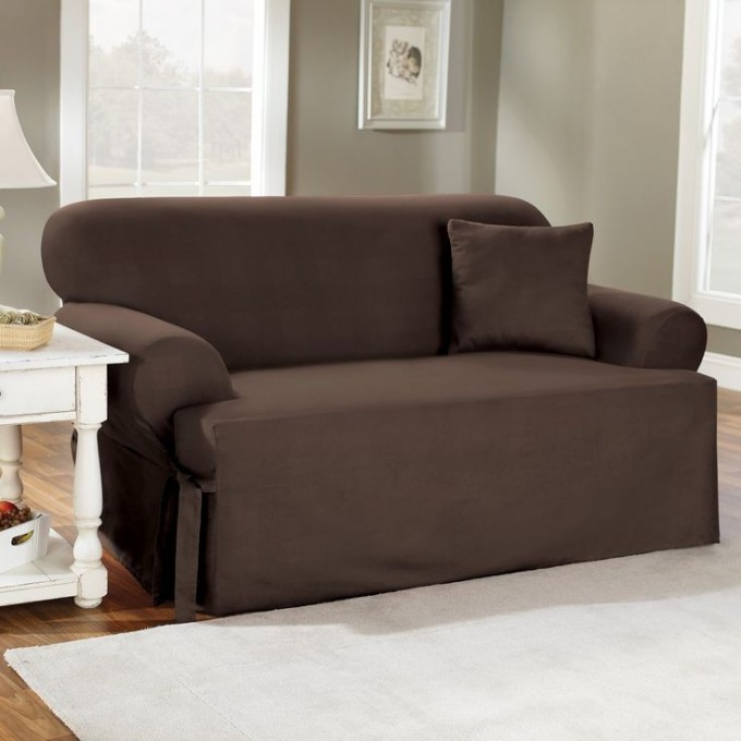 Wonderful Sofa With Brown Surefit Slipcover Plus White Rug On Wooden Floor For Living Room Decor Ideas