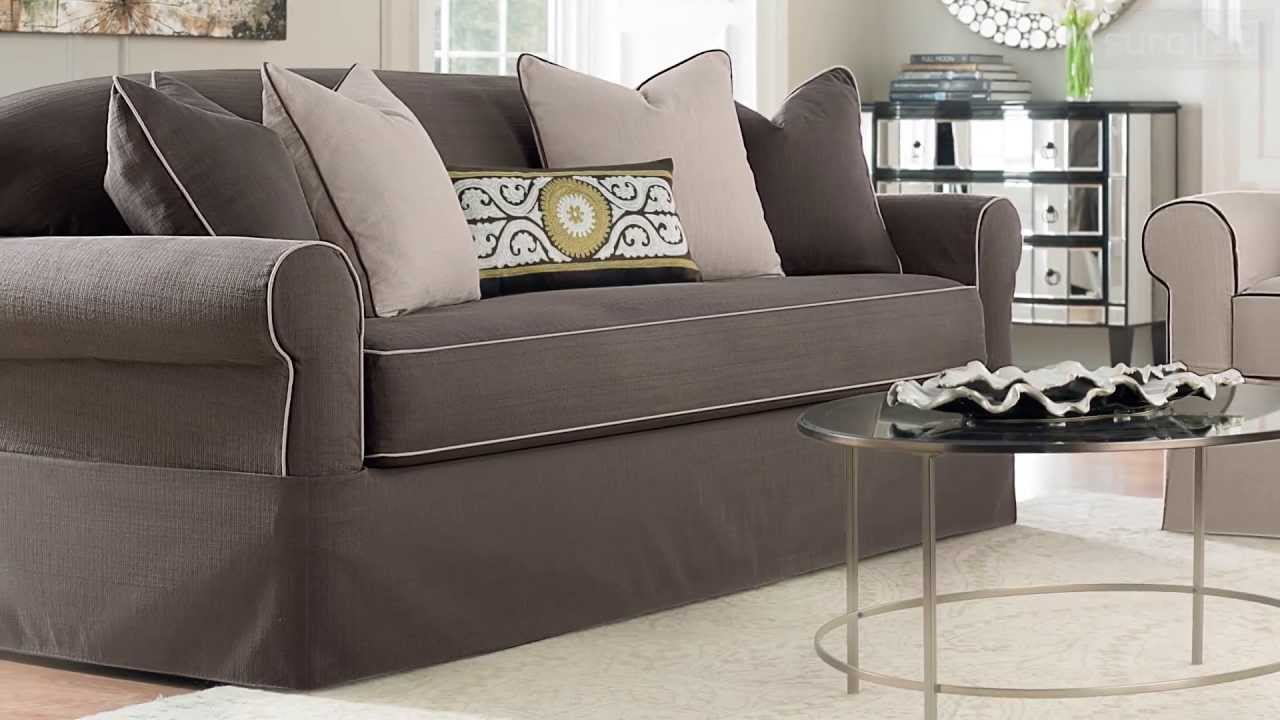 wonderful sofa with gray surefit cover plus cushion for living room decor ideas