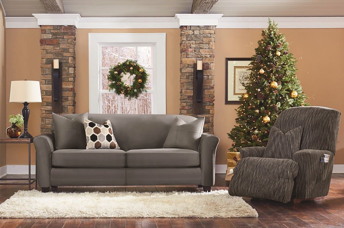 wonderful sofa with gray surefit cover plus white rug on wooden floor which matched with tan wall for living room decor ideas