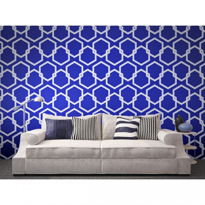 Wonderful Tempaper Wallpaper In Blue Theme Plus White Sofa For Living Room Decor Ideas