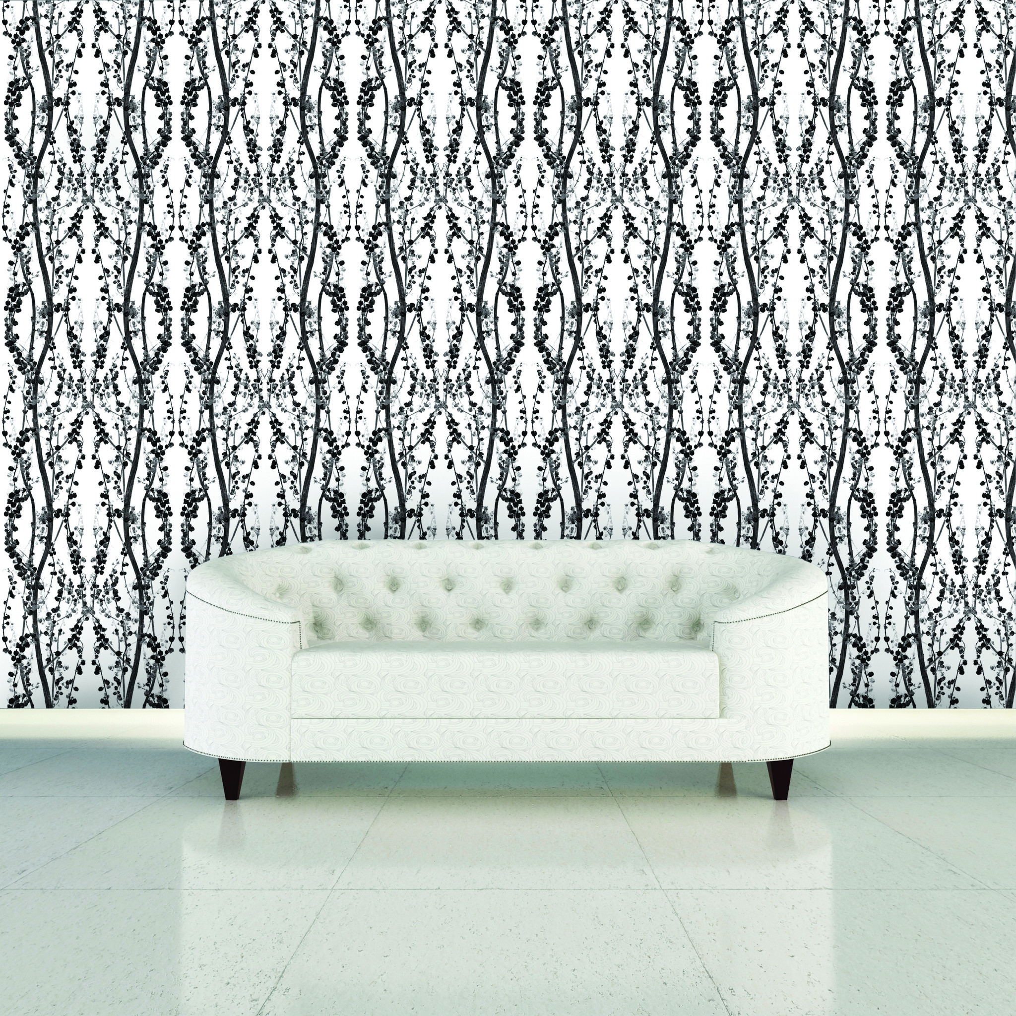 wonderful tempaper wallpaper in chic motif design matched with white tile floor plus white sofa for interesting living room decor ideas