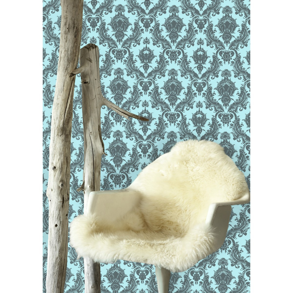 wonderful Tempaper Wallpaper in damsel aqua grey for wall decor ideas
