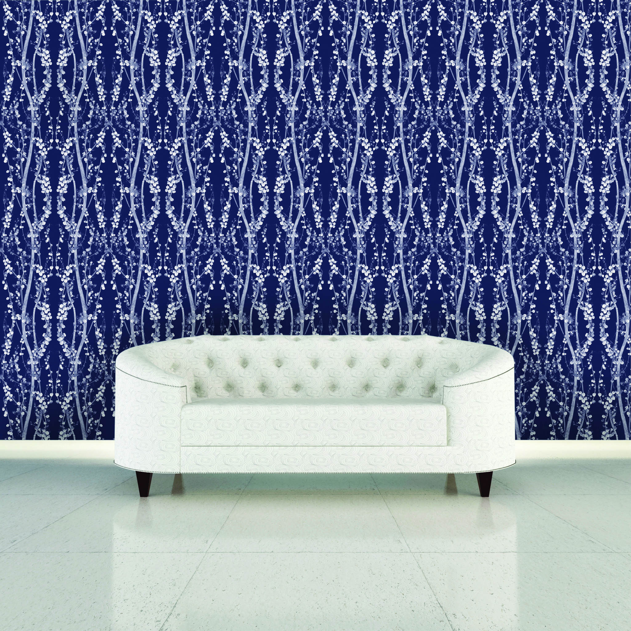wonderful Tempaper Wallpaper in mystery blue design matched with white tile floor for living room design