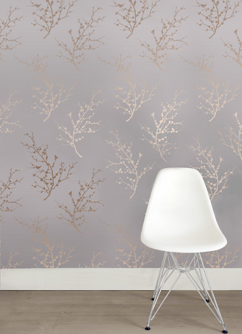 wonderful tempaper wallpaper in tree motif design matched with wooden floor plus for interior design ideas