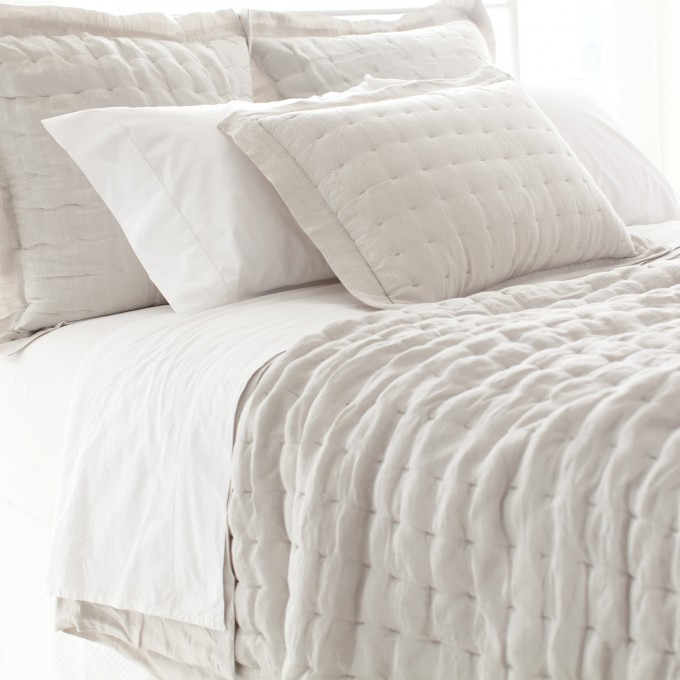 Wonderful Tufted Pine Cone Hill Bedding In White And Gray For Lovely Bed Ideas