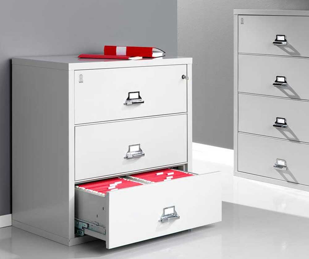 wonderful white fireproof file cabinet on white floor which matched with white wall for home office decor ideas