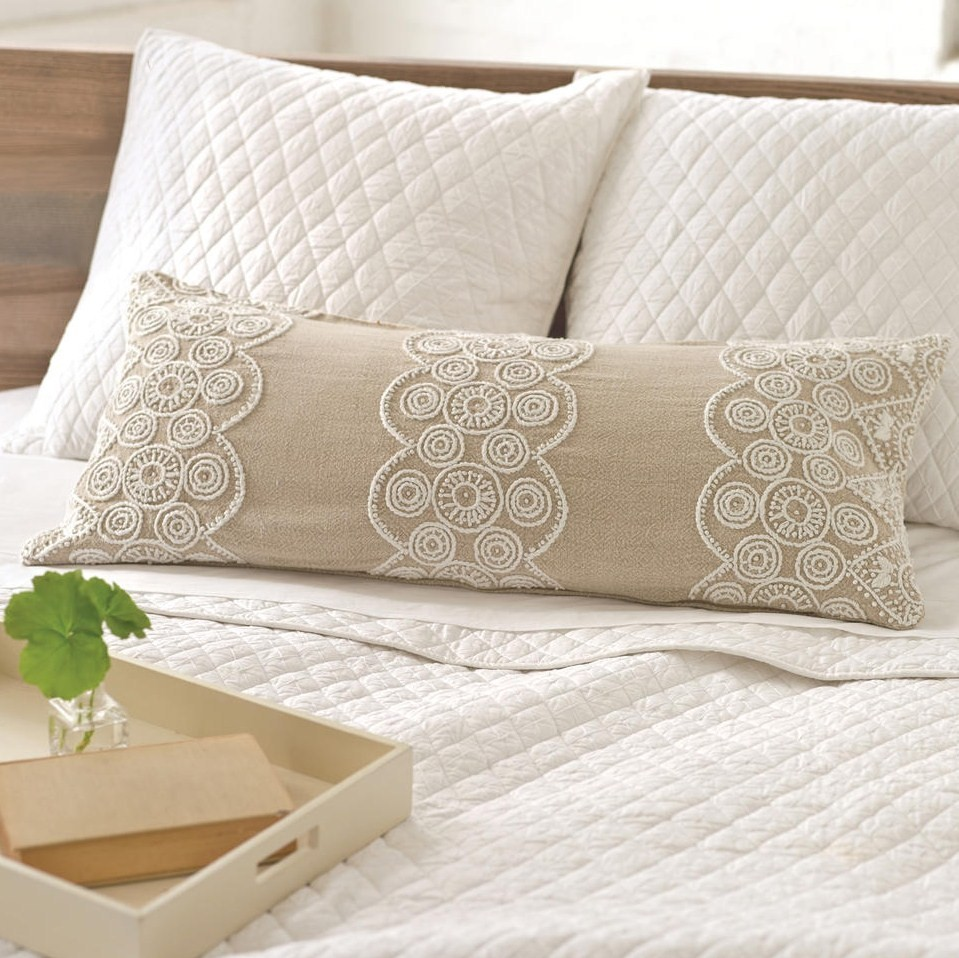 wonderful white pine cone hill bedding with beige pillow cover for chic bed ideas