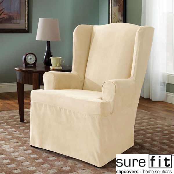 wonderful wing back chair with surefit slipcover in white for living room decor ideas