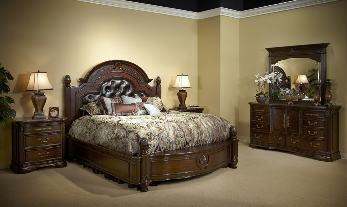 Wonderful Wooden Bed In Brown With Tufted Leather Headboard By Aico Furniture Plus Vanity And Nightstand For Bedroom Decor Ideas