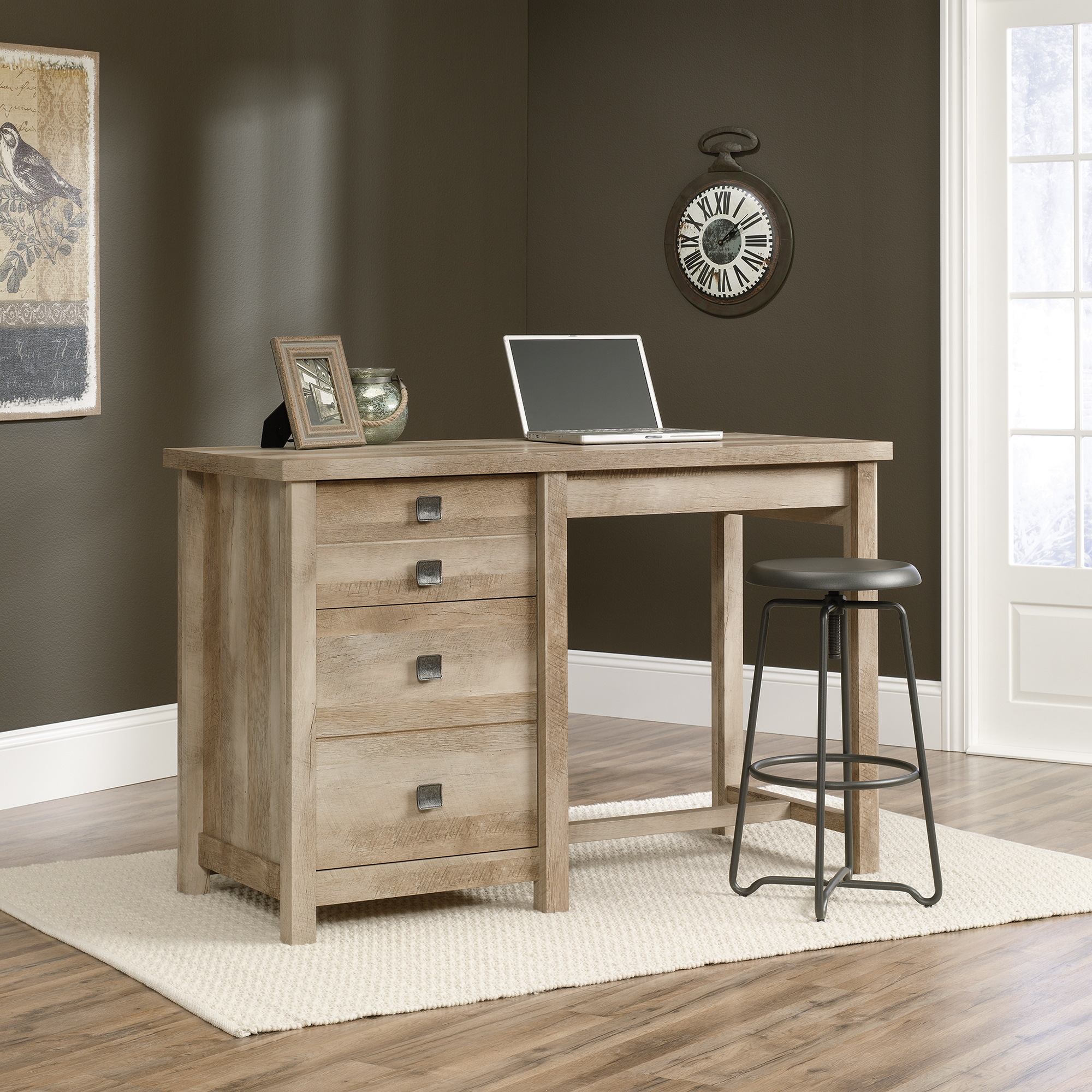 wonderful wooden desk by sauder furniture and stool on white rug for home office decor ideas