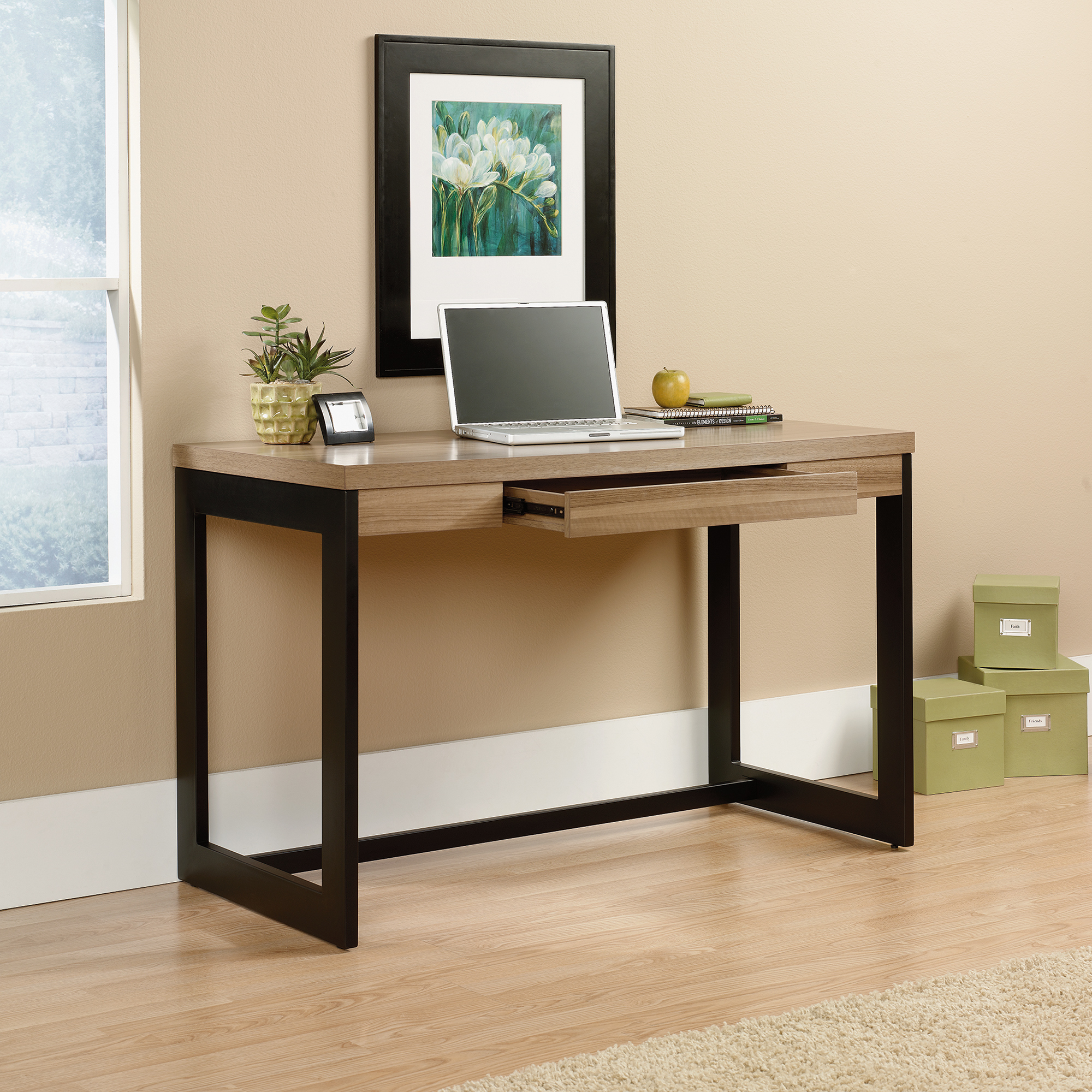 wonderful wooden desk by sauder furniture on wooden floor which matched with beige wall for home office decor ideas