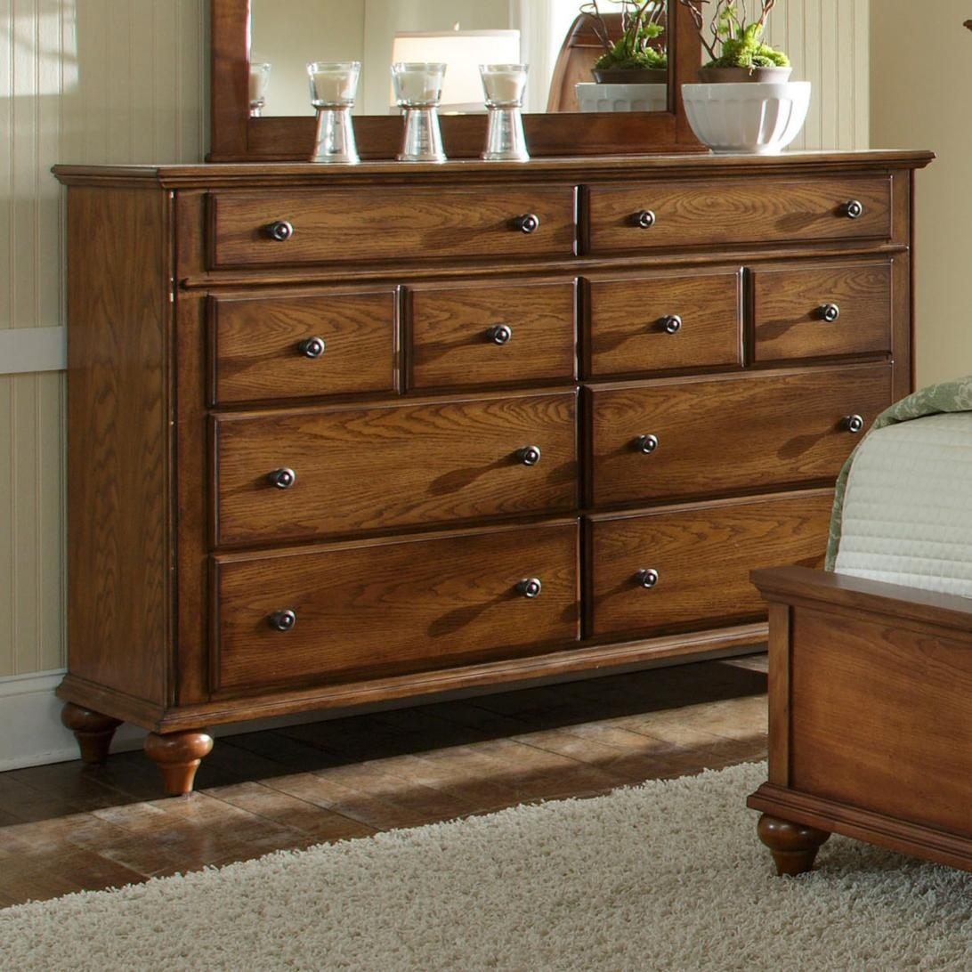 Wonderful Wooden Dresser With Dark Handle And Mirror By Broyhill Furniture On Wooden Floor For Bedroom Decor Ideas