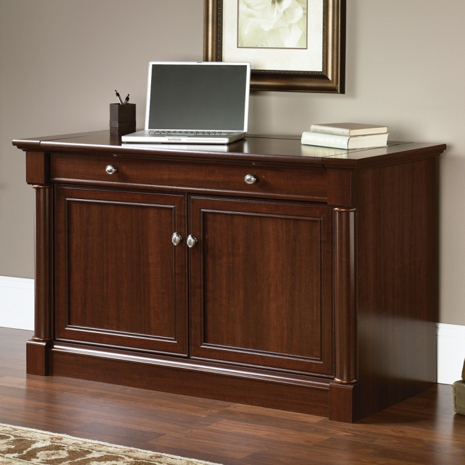Wonderful Wooden Technologray Cabinet In Brown By Sauder Furniture On Wooden Floor Which Matched With Gray Wall For Home Office Decor Ideas