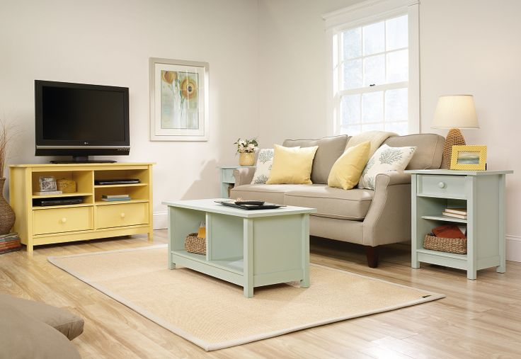 wonderful wooden tv stand by sauder furniture plus olive coffee table and gray sofa for living room decor ideas