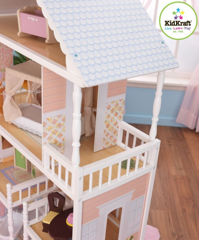 Wondreful Kidkraft Dollhouse Made Of Wood With Blue Roof For Sale