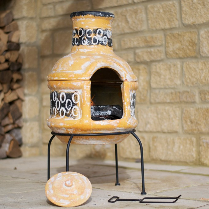 Yellow Clay Chiminea With BBQ Grill And Cover For Patio Furniture Ideas